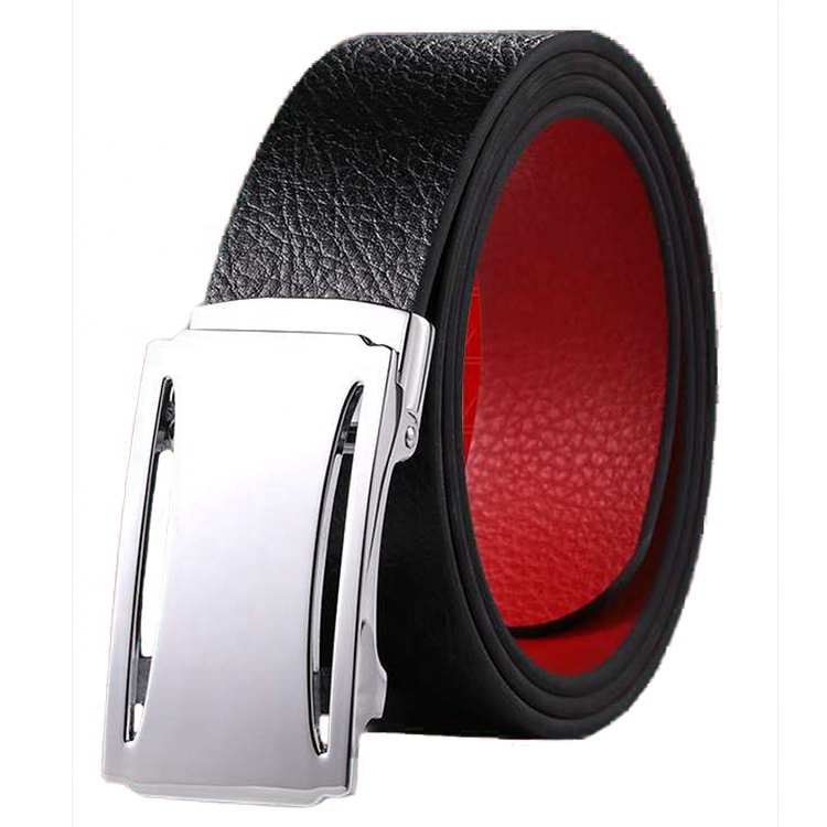 Black Leather Men Baseball Belts with Custom Logo Automatic Buckle