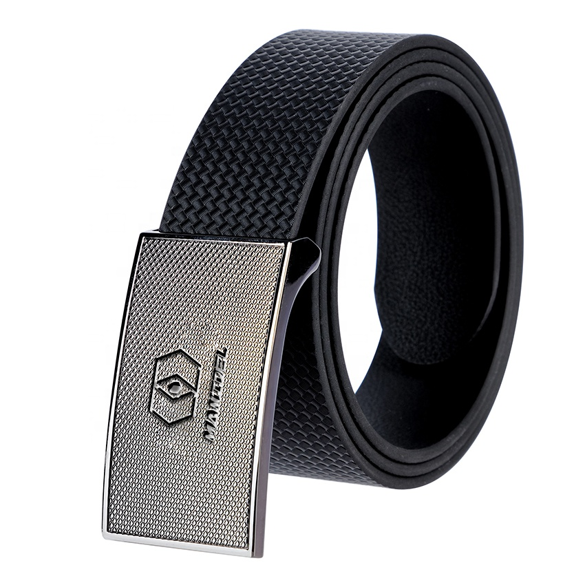 Convenient 3.8 cm Wide High Grade Black and Light Camel Leather Belts with Flat Removable Buckles